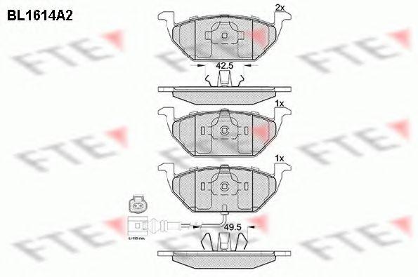 Колодки тормозные дисковые, комплект JP GROUP арт. BL1614A2