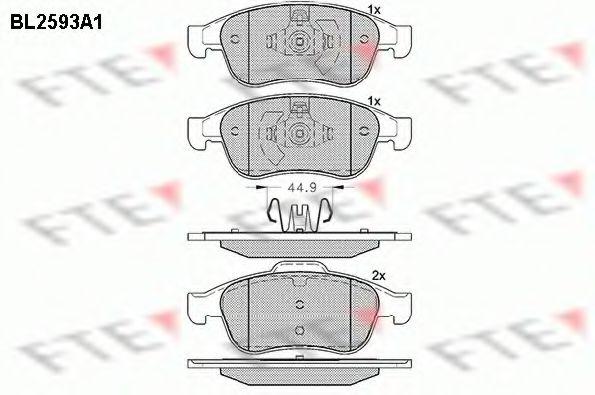 Колодки гальмівні передн. Renault Megane 09-/Duster 10-/Dokker 13- FTE BL2593A1
