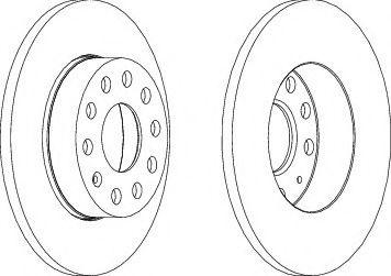 Тормозной диск зад. к-кт 2шт. Caddy III (260x12) FERODO DDF1276