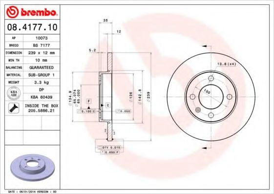 Тормозной диск BREMBO 08417710