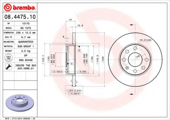 Тормозной диск BREMBO 08447510