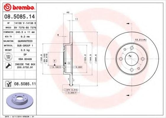 Тормозной диск  арт. 08508514
