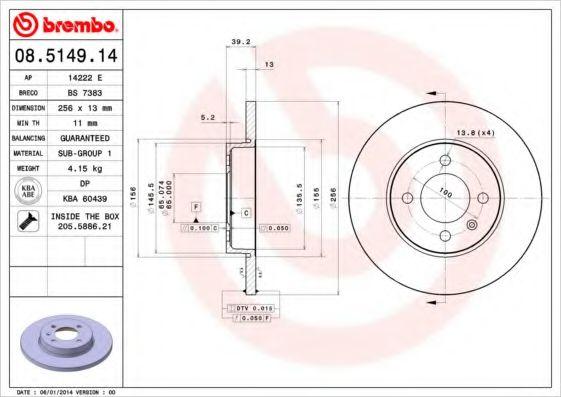 Тормозной диск BREMBO 08514914