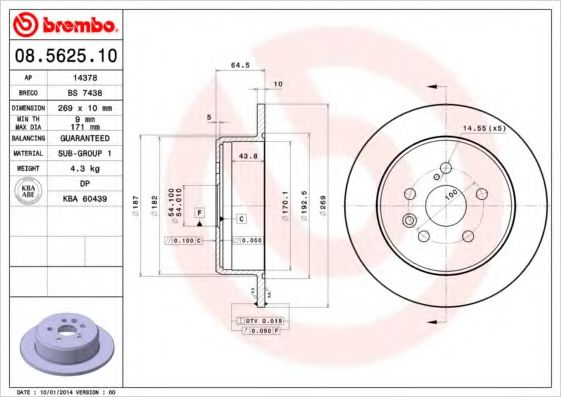 Диск тормозной BREMBO 08562510