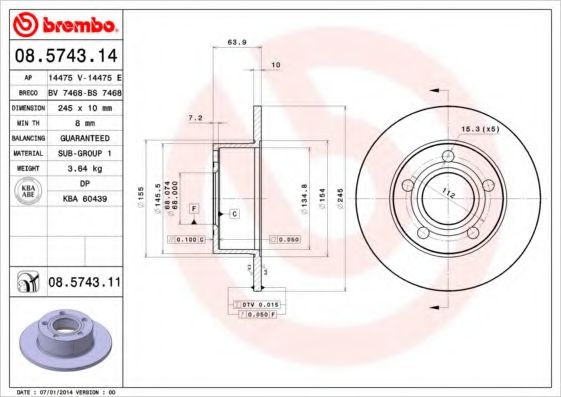 Диск тормозной BREMBO 08574314