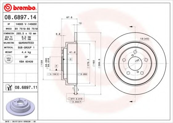 Тормозной диск BREMBO 08689714
