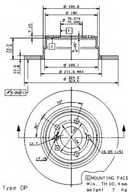 Тормозной диск Brembo  арт. 08701980