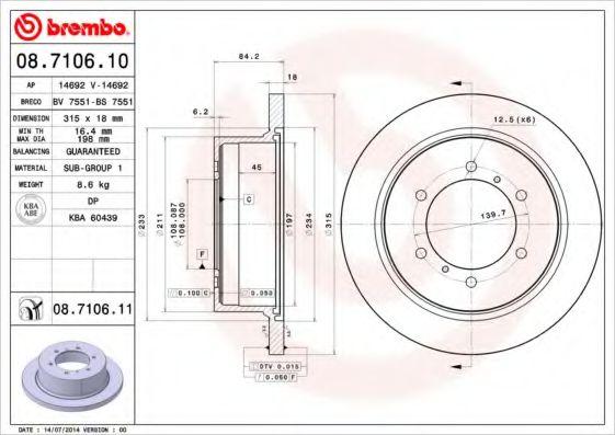Тормозной диск BREMBO 08710610
