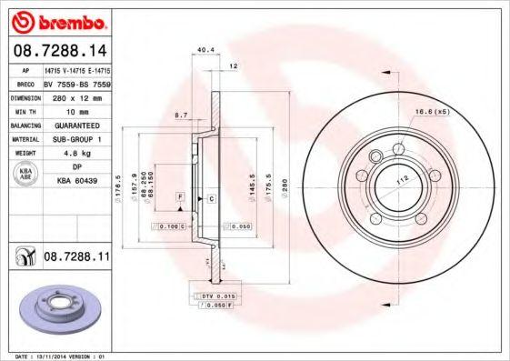Тормозной диск BREMBO 08728814
