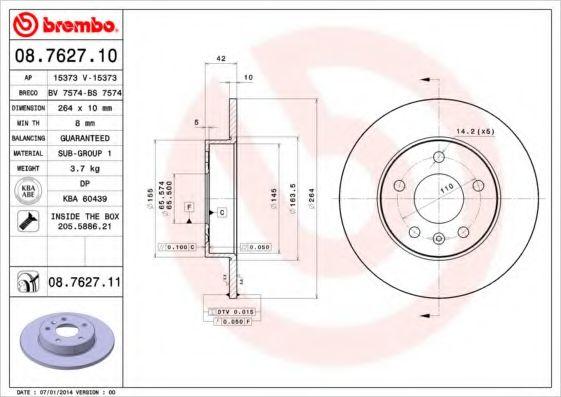Тормозной диск BREMBO 08762710
