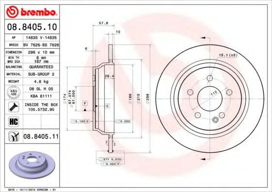 Тормозной диск Brembo BREMBO 08840510