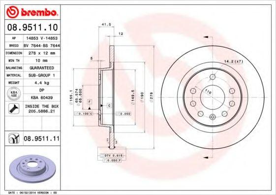 Тормозной диск BREMBO 08951110
