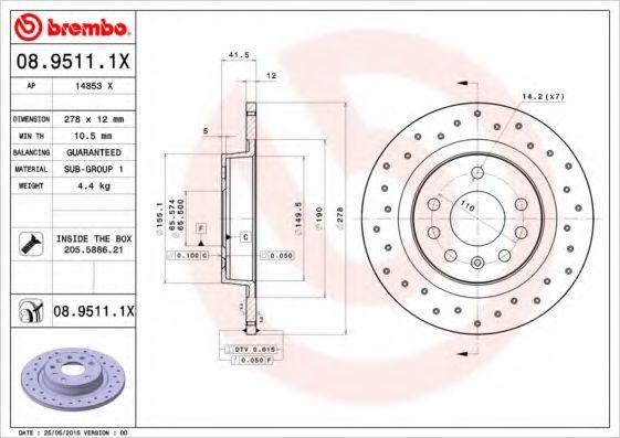 Тормозной диск  арт. 0895111X