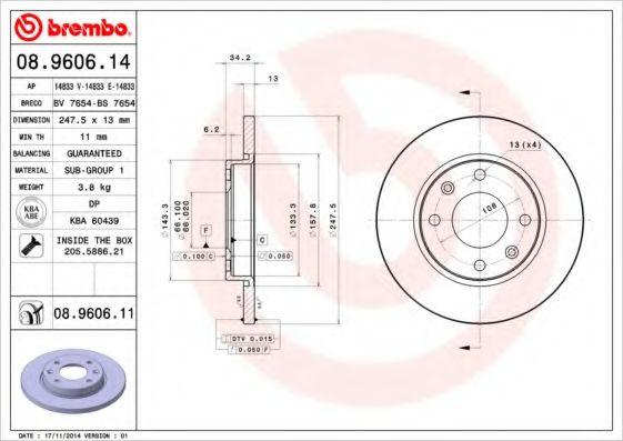 Тормозной диск BREMBO 08960614