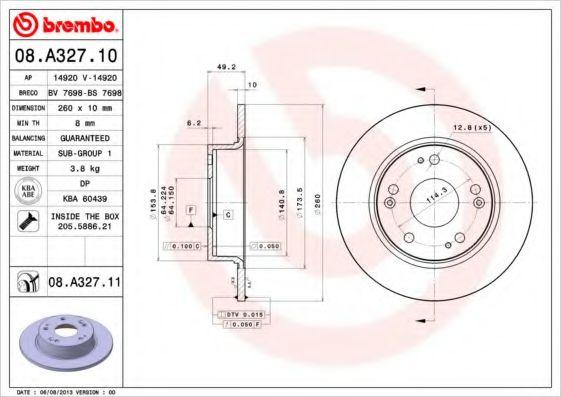 Тормозной диск BREMBO 08A32710