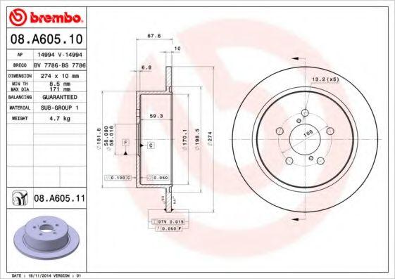 Диск гальмівний зад. Subaru Legacy 02/08- BREMBO 08A60510