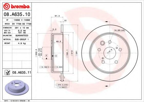 Тормозной диск BREMBO 08A63511