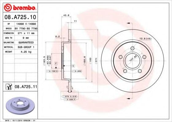 Тормозной диск Brembo BREMBO 08A72510