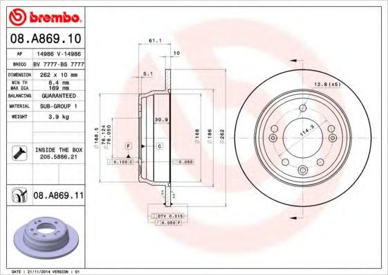 Тормозной диск Brembo  арт. 08A86910