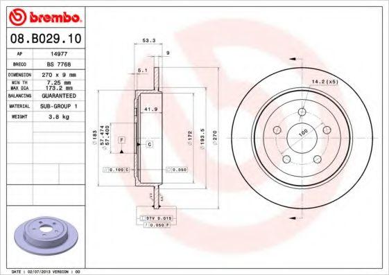 Тормозной диск  арт. 08B02910