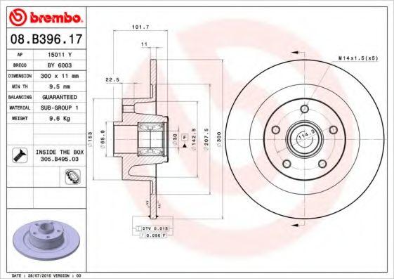 Диск тормозной, комплект с подшипником и кольцом a BREMBO 08B39617