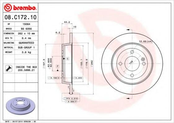 Тормозной диск Brembo  арт. 08C17210