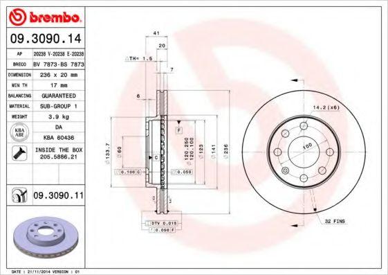 Тормозной диск пер. LANOS 1,5 Brembo  арт. 09309014