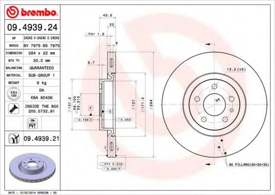 Тормозной диск  арт. 09493924