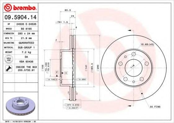 Диск тормозной передн. CITROEN JUMPER; FIAT DUCATO; PEUGEOT BOXER 1.9D-3.0HDi 02.94- Q14 BREMBO 09590414