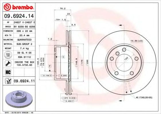 Тормозной диск  арт. 09692414