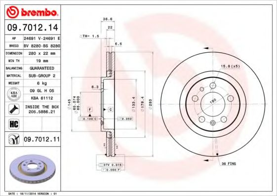 Диск тормозн. перед. AUDI A3; SEAT LEON 1.4-1.9 09.96- BREMBO 09701214