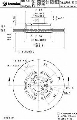Тормозной диск  арт. 09869781