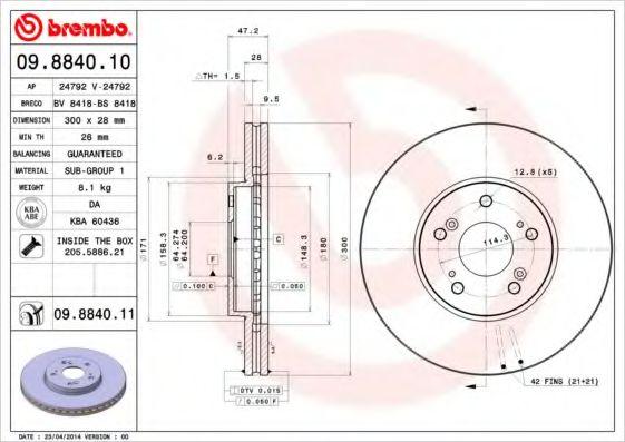 Тормозной диск Brembo  арт. 09884010