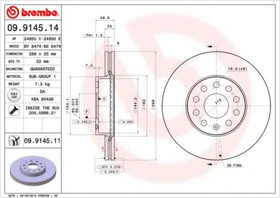 Тормозной диск BREMBO 09914511
