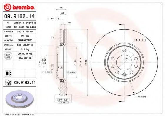 Тормозной диск вентилируемый  арт. 09916214