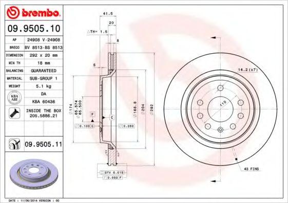 Тормозной диск  арт. 09950511