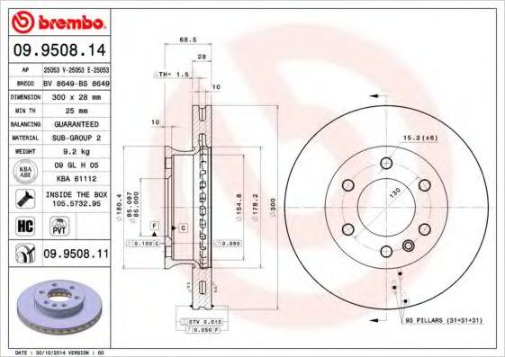 Диск гальмівний перед. 300X28 DB Sprinter 06- BREMBO 09950811