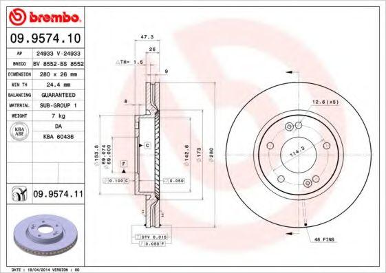 Тормозной диск Brembo  арт. 09957410