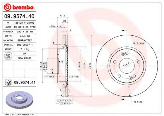 Тормозной диск Brembo  арт. 09957440