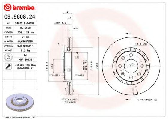 Тормозной диск Brembo  арт. 09960824