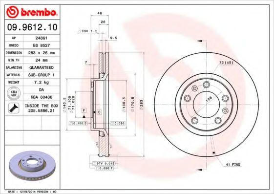 Диск тормозной BREMBO 09961210