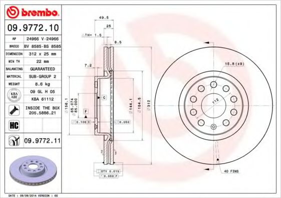 Диск тормозной BREMBO 09977211