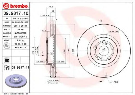 Диск гальмівний перед. Toyota Avensis T25 2.0I 16V, 2.4I 16V, 2.0TDI 16V 03-  BREMBO 09981710