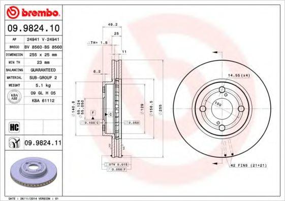 Фото - Тормозной диск Brembo BREMBO - 09982410