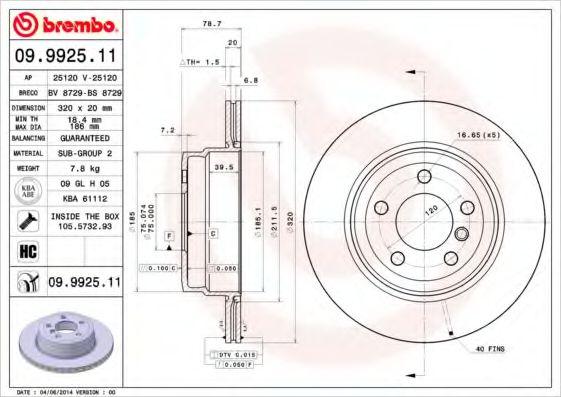 Тормозной диск Brembo Painted disk  арт. 09992511