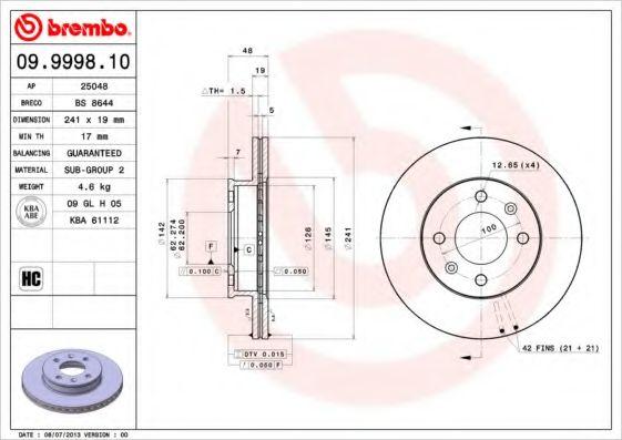 Тормозной диск Brembo  арт. 09999810