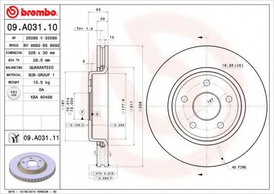 Тормозной диск  арт. 09A03110