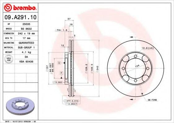 Тормозной диск  арт. 09A29110