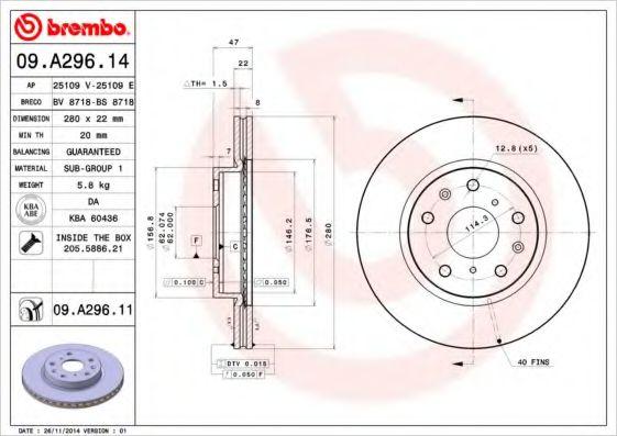 Тормозной диск Brembo  арт. 09A29614