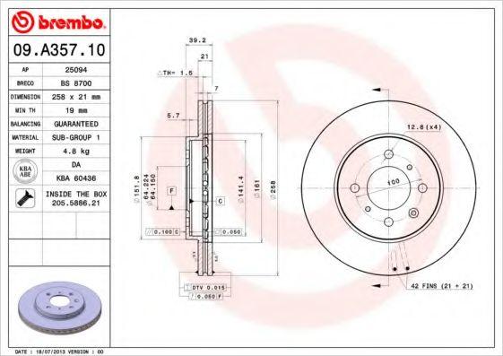 Тормозной диск  арт. 09A35710